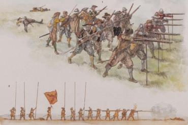 Distribución de los mosqueteros en el campo de batalla